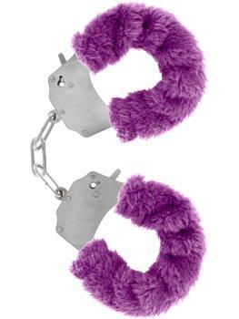 Pouta na ruce s plyšovým kožíškem, fialová – Pomůcky pro úchvatnou bondage (svazování)