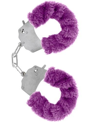 Pouta na ruce s plyšovým kožíškem, fialová