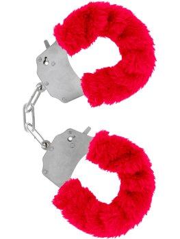 Pouta na ruce s plyšovým kožíškem, červená – Pomůcky pro úchvatnou bondage (svazování)