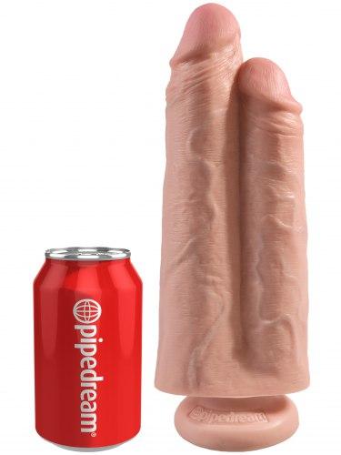 "Realistické dildo King Cock Two Cocks One Hole 9"""