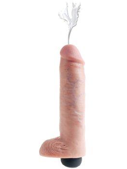"""Stříkající realistické dildo s varlaty King Cock 10"""" – Stříkající dilda"""