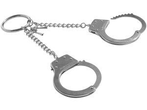 Kovová pouta s ozdobným kroužkem S&M – Pouta, lana a pomůcky pro bondage