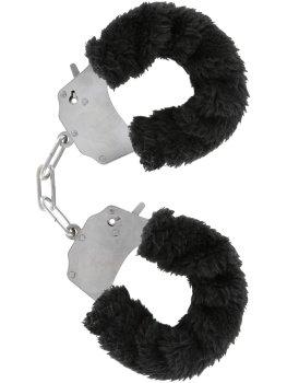 Pouta na ruce s plyšovým kožíškem, černá – Pomůcky pro úchvatnou bondage (svazování)