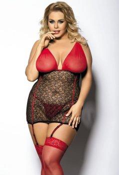 Sexy krajkové minišaty s podvazky Yammy Gorgeous PLUS SIZE – Erotické prádlo v plus size velikostech