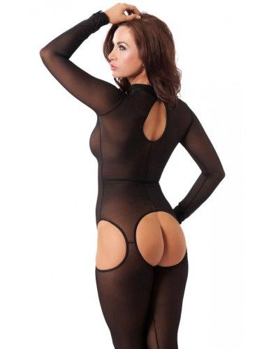 Průsvitný catsuit s límečkem a otevřeným rozkrokem Amorable