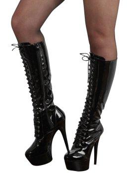 Vysoké lakované kozačky se šněrováním - na jehlovém podpatku – Erotické boty