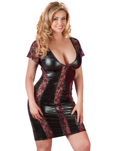 Lesklé šaty s průsvitnými krajkovými vsadkami
