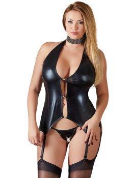 Lesklý top s ozdobnými kamínky a podvazky PLUS SIZE – Erotické prádlo v plus size velikostech