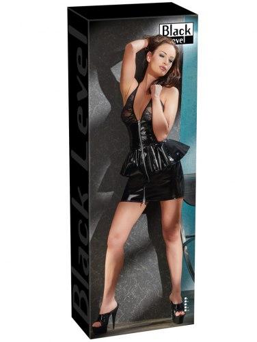 Lakované minišaty s krajkovým topem a dvojitou sukní
