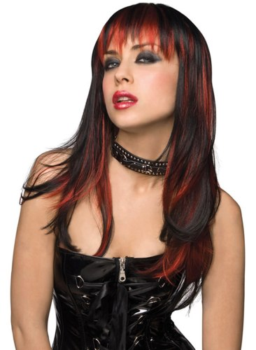 Paruka Courtney - dlouhá, černá s červeným melírem