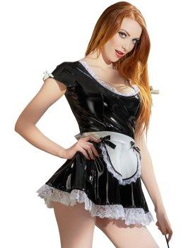 Lakovaný kostým Servírka - černé šaty s bílou krajkou – Dámské lakované oblečení (vinyl)