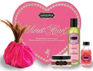 Luxusní sada přípravků pro péči o tělo Sweet Heart – Erotické masážní oleje a emulze