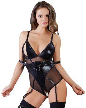 Body s pouty na paže a zipy na prsou a v rozkroku – Sexy dámská body