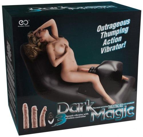 Nafukovací milostné lehátko s šukacím strojem Dark Magic