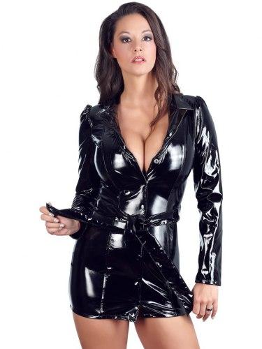 Lakované kabátové šaty na zip s páskem