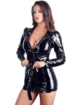 Lakované kabátové šaty na zip s páskem – Dámské sexy šaty a minišaty