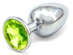 Anální kolík se šperkem, světle zelený - MALÝ – Anální kolíky se šperkem