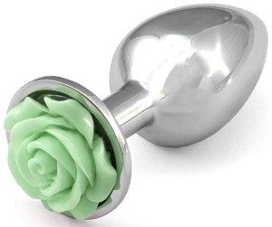 Anální kolík s růžičkou, světle zelený – Anální šperky