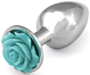 Anální kolík s růžičkou, světle modrý – Anální šperky