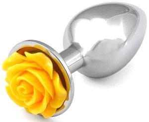 Anální kolík s růžičkou, žlutý – Anální šperky