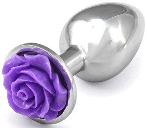 Anální kolík s růžičkou, fialový – Anální šperky