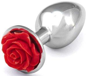 Anální kolík s růžičkou, červený – Anální šperky