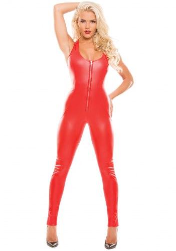 Lesklý červený catsuit Second Skin