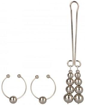 Sada intimních šperků SILVER - ozdoby na bradavky a klitoris – Ozdoby na bradavky