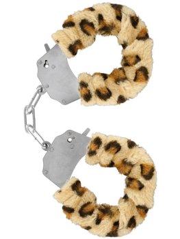 Pouta na ruce s plyšovým kožíškem, leopard – Pomůcky pro úchvatnou bondage (svazování)