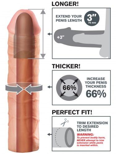 Návlek na penis MEGA, prodlouží o 7,6 cm