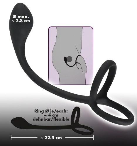 Stimulátor prostaty s kroužky na penis a varlata Black Velvets