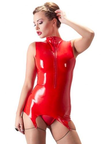 Latexový top se zipem a podvazky, červený