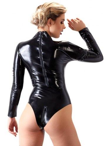 Latexové body se zipy v rozkroku a na zádech