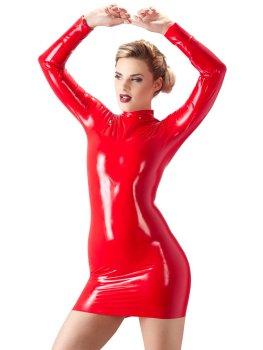 Latexové minišaty s dlouhým rukávem, červené – Latexové oblečení pro ženy