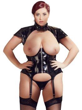 Lakovaný korzet s límečkem, odhalenými ňadry a šněrováním – Erotické prádlo v plus size velikostech