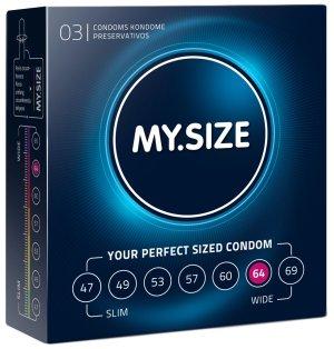 Kondomy MY.SIZE 64 mm, 3 ks – XL a XXL kondomy pro velké penisy