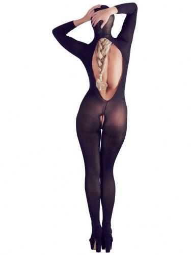Catsuit s maskou, otevřeným rozkrokem a odhalenými prsy