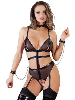 Body s řetízkem v rozkroku + obojek a pouta – Sexy dámská body