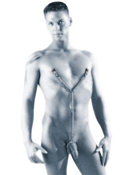 Skřipce na bradavky s řetízkem a 3 erekčními kroužky – Skřipce a svorky na mučení bradavek, klitorisu a stydkých pysků