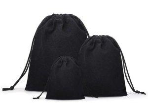 Dárkový sametový pytlík - černý, různé velikosti – Dárkové krabičky a tašky