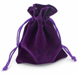 Dárkový sametový pytlík - fialový, různé velikosti – Dárkové krabičky a tašky