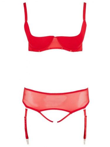 Set erotického prádla s podvazky a odnímatelnou krajkou