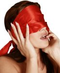 Saténový šátek na oči Bad Kitty, červený
