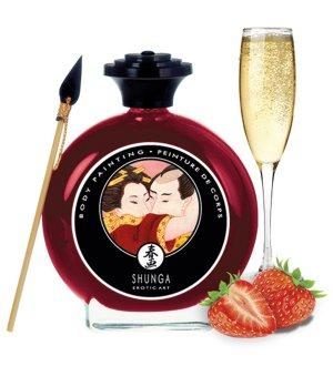 Slíbatelný bodypainting Shunga Sparkling Strawberry Wine – Bodypainting, malování na tělo