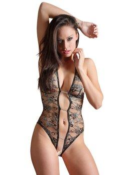Průsvitné body s otevřeným rozkrokem a krajkou Abierta Fina – Sexy dámská body