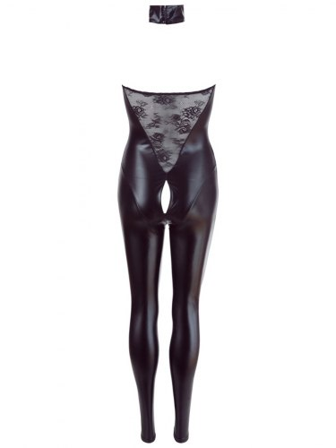 Lesklý catsuit s krajkou a zipem v rozkroku Cottelli Collection