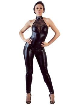 Lesklý catsuit s krajkou a zipem v rozkroku Cottelli Collection – Dámské catsuity a overaly