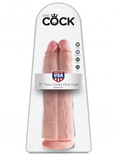 Realistické dildo King Cock Two Cocks One Hole 11""
