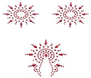 Samolepicí ozdoby na bradavky a vaginu Gloria, červené – Vzrušující nálepky na bradavky