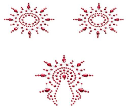 Samolepicí ozdoby na bradavky a vaginu Gloria, červené